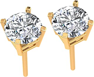 Sterling Silver Stud Earrings for Women Made with Crystals from Swarovski ® – 6.23mm - 4 Prongs Setting