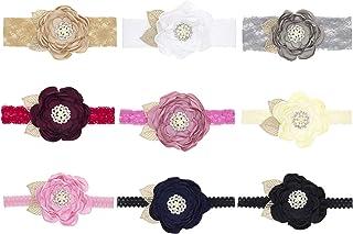 مجموعة متنوعة من 9 قطع من إكسسوارات الشعر للبنات الرضّع والأطفال الرضع من الزهور اللطيفة الجميلة والدانتيل من الشيفون