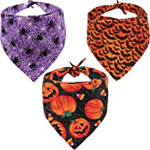 KZHAREEN 3 PCS/Pack Halloween Dog Bandana Pumpkin Reversible Triangle Bibs Scarf Accessories for Dogs Cats Pets