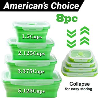 NATURAL'S HOUSE Collapsible - Reusable Insulated Food Preserving Storage Silicone Container 8pcs Airtight- BPA Free-FDA|Space Saver Bags