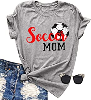 Women Soccer Mom Letter Printed T Shirt Football Graphic Fashion Top Tee