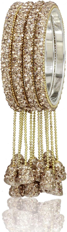 Ratna creation SANARA Indian Bollywood Ethnic Antique Gold Crystal Made Wedding Bridal Hanging Latkan Bangles Bracelet Wedding Partywear Jewelry