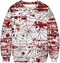 TOPUNDER Halloween 3D Print Hoodie Mens Casual Scary Party Long Sleeve Top Blouse