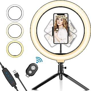 SYOSIN Luz de Anillo LED 10.2 con Trípode Stand Control Remoto Bluetooth Soporte para Teléfono 3 Modos de Luz y 11 Niveles de Brillo para Maquillaje Youtube Video Belleza y Fotografía de Moda