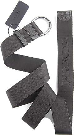 3ae316257200 Prada Dark Brown Saffiano Leather   Jacquard Logo Adjustable Belt