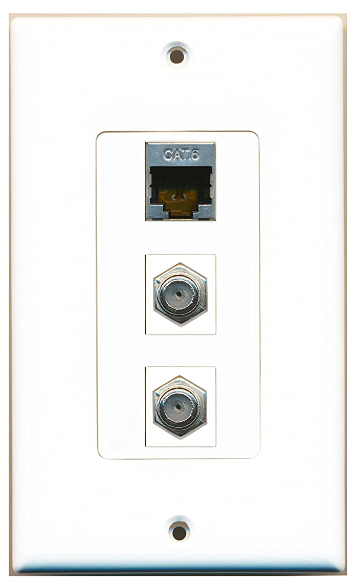 RiteAV - 2 Port Coax Cable TV- F-Type and 1 Port Shielded Cat6 Ethernet White Decorative Wall Plate
