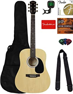 Best Fender Squier Dreadnought Acoustic Guitar - Natural Bundle with Gig Bag, Tuner, Strings, Strap, Picks, Fender Play Online Lessons, and Austin Bazaar Instructional DVD Review