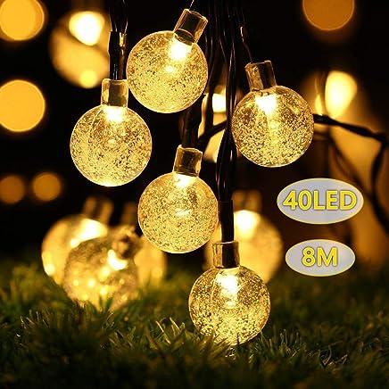 B,right Guirlande lumineuse solaire 40 LED à énergie solaire pour balcon,  jardin,