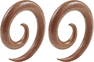 Pair of Sawo Wood Spiral Coil Taper Piercing Jewelry Ear Plugs Stretching Expander Earring Stretcher Lobe