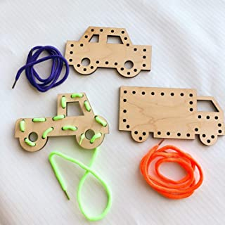 Cars and Trucks Wooden Lacing Toy Set, Learn to Sew Activity, Handheld Educational Game, Novelty Gift for Kids