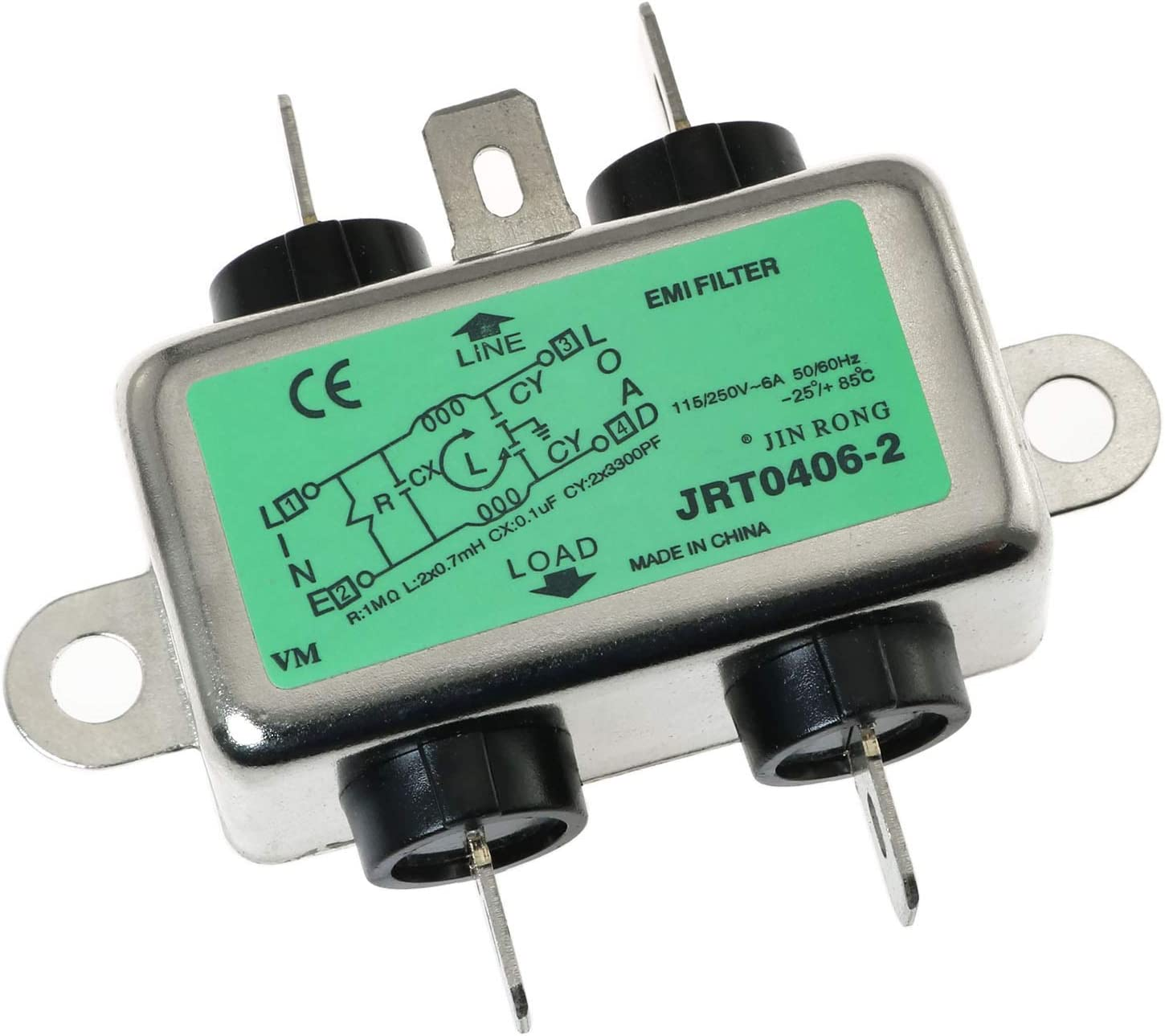E-outstanding Power Line Filter JR-L006-N Max 83% OFF 6A Suppr Noise We OFFer at cheap prices 250V AC