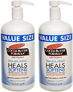 Palmer's Cocoa Butter Formula Daily Skin Therapy Body Lotion, Pump Bottle, 33.8 Ounce, 2 Count