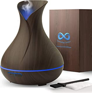 Everlasting Comfort Diffuser for Essential Oils (400ml) - Super High Aroma Output with Cleaning Kit, Dark Wood, 400ml