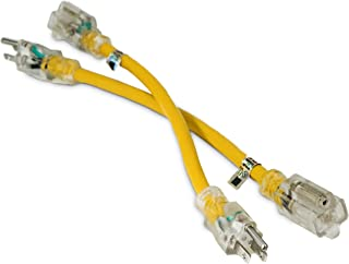 2 Pack - 1-ft 12/3 Heavy Duty Lighted SJTW Indoor/Outdoor Extension Cord by Watt's Wires - Two Pack of Short Yellow 1' 12-Gauge Grounded 15-Amp Three-Prong Power-Cord (1 foot 12-Awg)