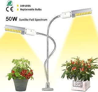 HIGROW 50W LED Grow Light White, Sunlike 100 LED Full Spectrum Grow Lamp, 2-Switch, 360 Degree Flexible Gooseneck Plant Light for Indoor Greenhouse Hydroponic Plants Seeding, Growing, Flowering