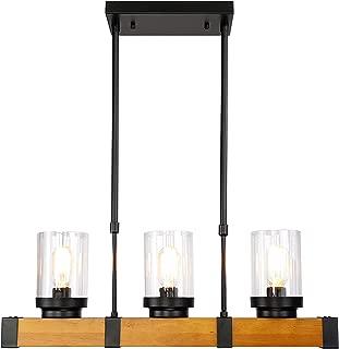 Longwind Wood Kitchen Island Lighting Farmhouse Linear Chandeliers with Glass Bottle Shade