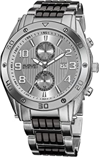 August Steiner Men's Silver Dial Metal Band Watch - AS8070SS, Analog, Japanese Quartz