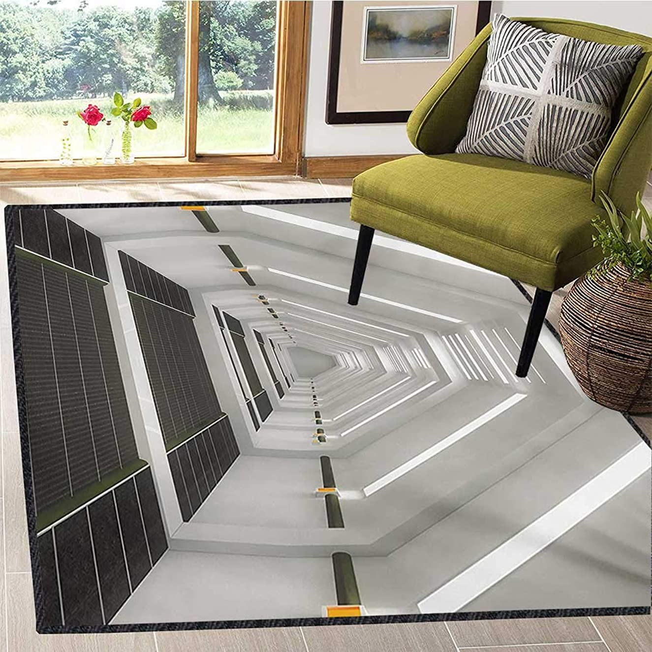 Outer Space, Area Rug for Kids Room, Surreal Scene of Spaceflight New Horizons Theme Science Fiction Photo, Children Kids Nursery Rugs Floor Carpet 4x5 Ft Army Green Pale Grey