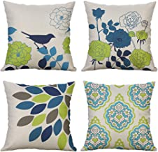 MIULEE Pack of 4 Bird and Flower Pattern Pillow Covers Decorative Cotton Linen Throw Pillow Covers Spring Theme Solid Cushion Cases for Sofa Bedroom Car 18x18 Inch