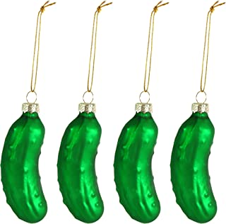 Ornativity Christmas Pickle Tree Ornament - Traditional Glass Blown Green Hanging Pickle Ornaments Pack of 4