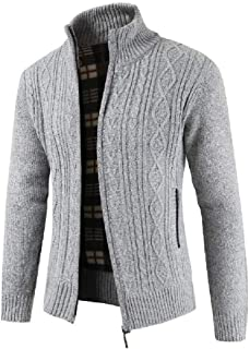 CuteRose Mens Plus-Size Stand Collar Autumn Relaxed-Fit Fleece Sweatshirts