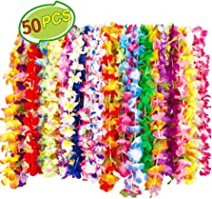 Hawaiian Leis Silk Flower Leis Party Favors Bulk, SEAER 50 Tropical Hawaiian Necklaces 50 Colors Luau Party Decorations Party Supplies for Kids Adults