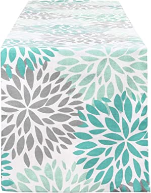 Alishomtll Dahlia Pinnata Table Runner Green and Gray Print Flower Table Runners for Catering Events, Dinner Parties, Wedding