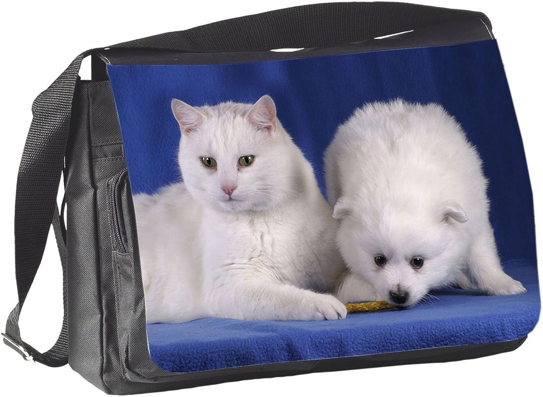 +++ Hund & Katze TIERFREUNDSCHAFT Spitz - COLLEGETASCHE Tasche Tasche Tasche UMHÄNGETASCHE Schultertasche - TIF 09 B014Z9PHKO 29a5e5