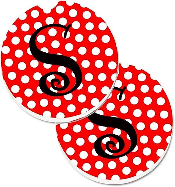Caroline S Treasures Monogram Initial S Red Black Polka Dots Set Of 2 Cup Holder Car Coasters CJ1012 SCARC 2 56 Multicolor