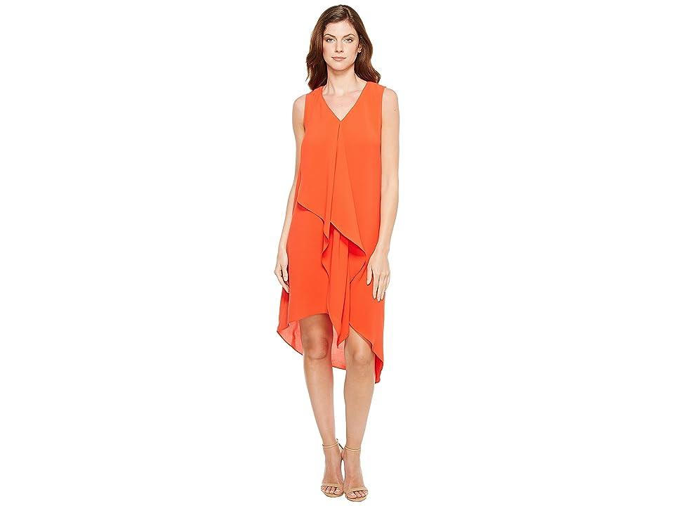 Adrianna Papell Asymmetrical Front Drape Dress (Fire Orange) Women