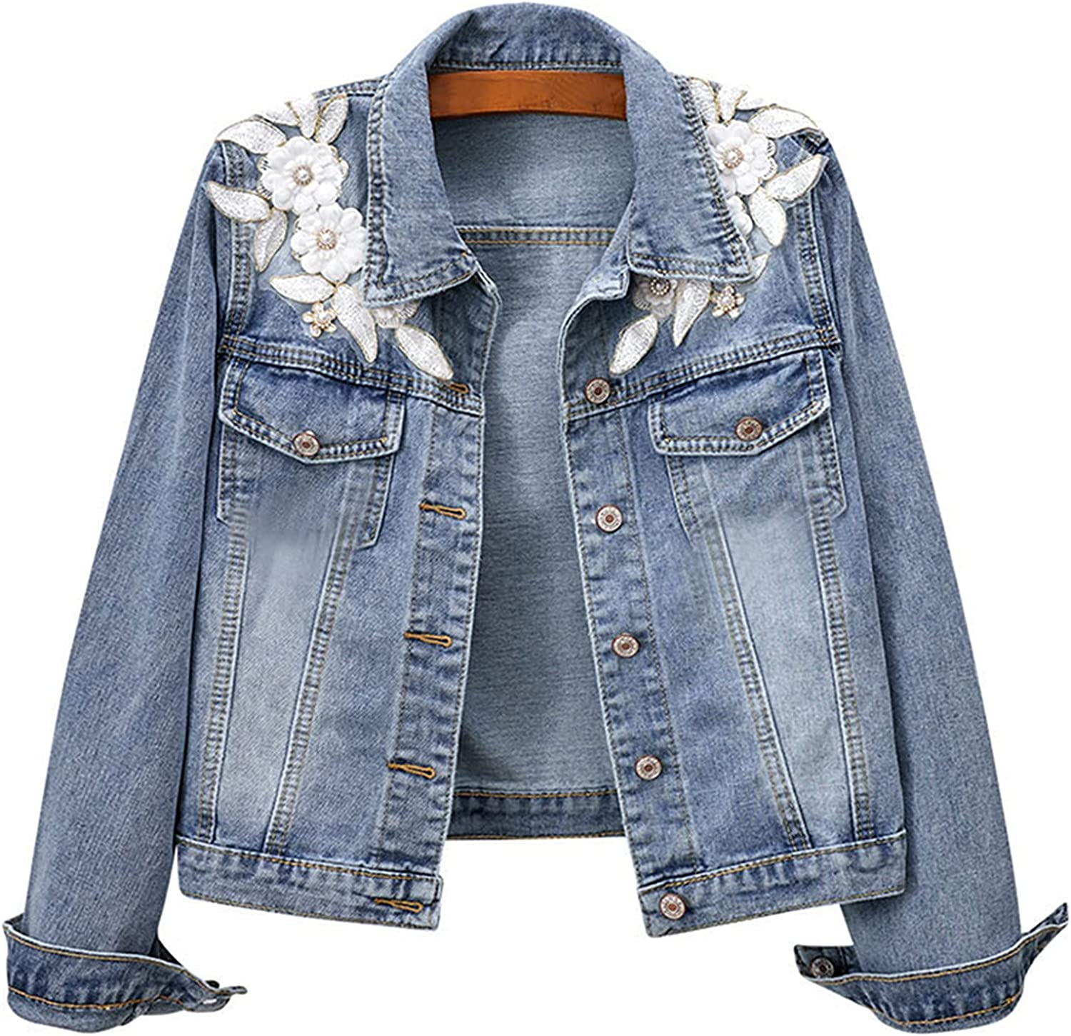 3D Floral Appliqued Short Jeans Jackets Embroidery Luxurious Pearl Beading Bomber Denim Coat Harajuku Outwear