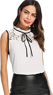 SheIn Women's Casual Sleeveless Bow Tie Neck Lace Work Blouse Top Tank Shirts