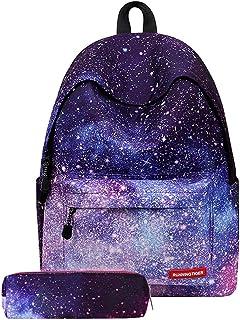 Tobaling Fille Sac à Dos Galaxy Collège Scolaire Loisir Voyage Impermeable avec Trousse à Crayons 20-35L (Violet )
