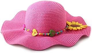 DANTIYA Kids Multi-Colors Large Brim Flower Beach Sun Hats for Girls