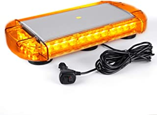 VKGAT 17 Inch 32 LED Roof Top Strobe Lights, Emergency Hazard Warning Safety Flashing Strobe Light Bar for Truck Car Vehicle, With Strong Magnet Base (Amber)