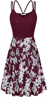 Moyabo Women's V Neck Sleeveless Floral Double Spaghetti Strap Summer Casual Swing Dress with Pockets