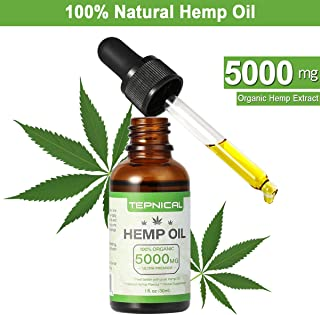 Hemp Oil for Pain Anxiety & Stress Relief - 5000 MG - Premium Organic Hemp Extract - 100% Natural Hemp Oil Drops, Helps with Better Sleep, Skin & Hair