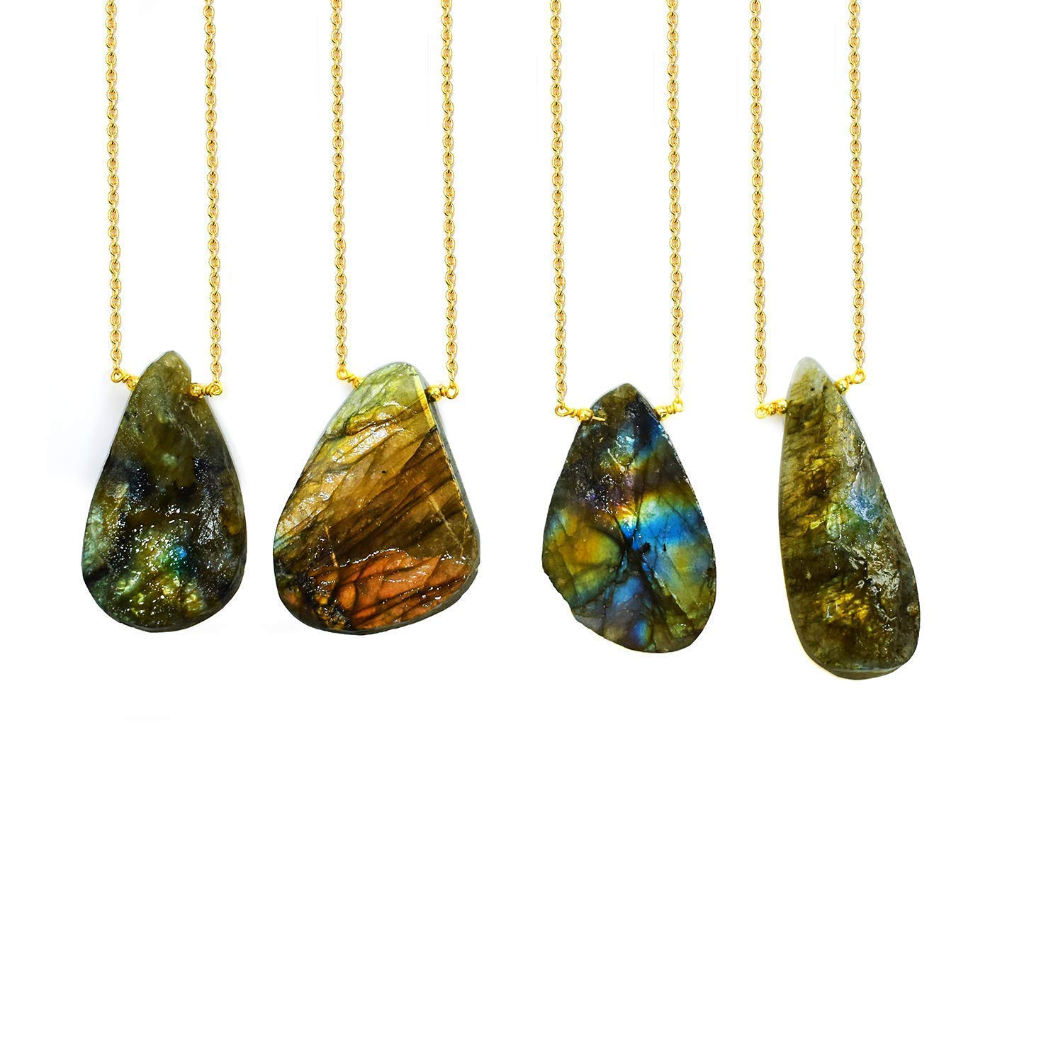 Gempires Natural Raw Labradorite Druzy Natural Crystals Pendant Necklace, Raw Gemstone, Energy Healing Crystals, Birthday, Gift for Her, Gemstone Jewelry 18 inch AAA+ Quality