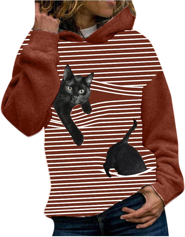 Women Hoodie Sweatshirts low-pricing Striped 3D Discount mail order Cat Print Long Sleeve B Tops