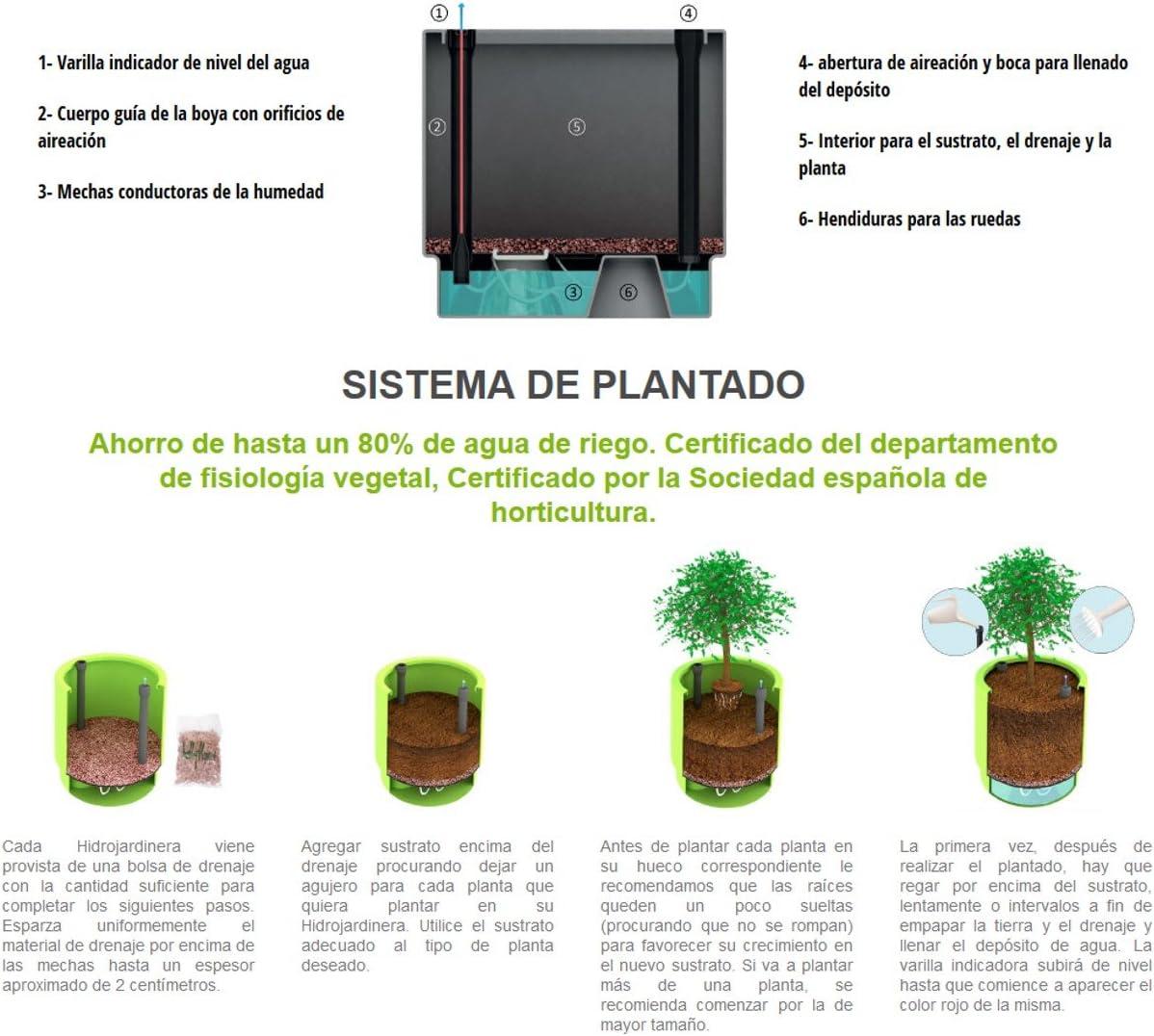 Maceta con sistema de auto-riego Hobby Flower Natura Soft 44 x 44 x 80 cm color Soft Oak
