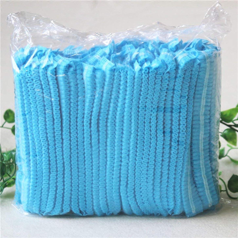 多用途熟達したムスシャワー入浴サロン用青100個使い捨て不織布防塵キャップ - 青