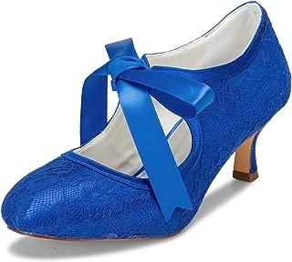 JIAJIA 140311 Women's Bridal Shoes Closed Toe Stiletto Heel Lace Satin Pumps Ribbon Tie Wedding Shoes