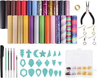 Earring Making Kit, Genround 26 Pcs 3 Styles Faux Leather Sheets for Making Earrings, Earring Making Supplies with Earring Hooks and Jump Rings, Leather Earring Cut Molds for Making Leather Earrings