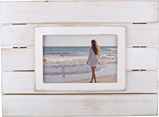 DII Z01766 Rustic Farmhouse Shiplap 4x6 Wooden Picture Frame for Wall Hanging or Desk Use, White