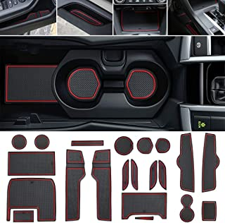 Thenice for 10th Gen Civic Door Groove Anti-Dirty Mats Cup Holder Liners 19 pcs for Honda Civic Sedan 2016 2017 2018 2019 -Full Kit,Red Trim