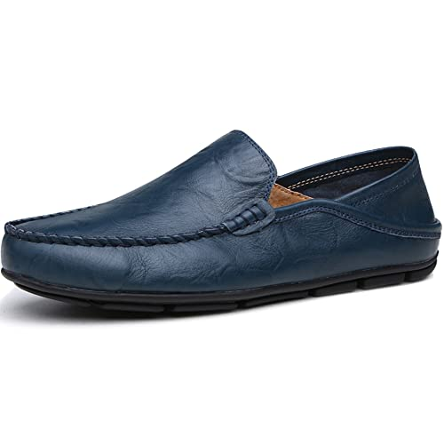 43740497c37 Lapens Men s Casual Flat Loafers Fashion Slip On Driving Shoes Black