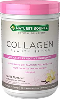 Collagen Beauty Blend by Nature's Bounty Optimal Solutions, Dietary Supplement, Supports Skin Health, Vanilla Flavor, 15g ...