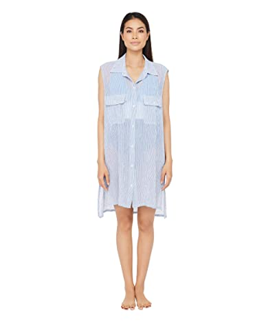 LAUREN Ralph Lauren Cotton Crepe Mini Stripe Sleeveless Camp Shirt Swimsuit Cover-Up (Blue/White) Women