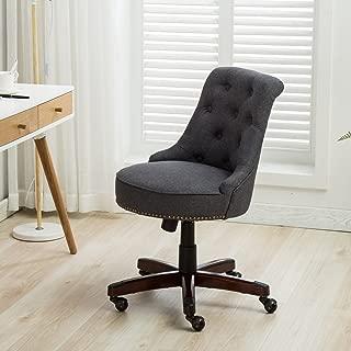 Belleze Office Chair Tufted Mid-Back Height Adjustable Desk Ergonomic Tilt Swivel Task Computer w/Wood Leg, Gray