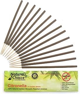 Natural Choice Citronella Sticks, 14 Garden Sticks, 100% Natural Outdoor Mosquito Repellent Incense Sticks